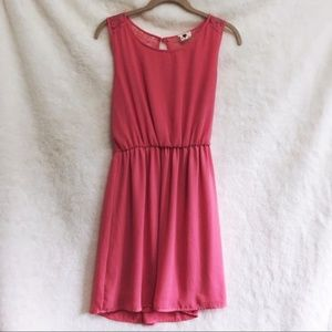 one clothing Pink Back Lace Sleeveless Flowy Dress